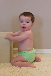 JD at nine months old in his Buttons diaper.